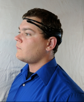 The EEG headset has 5 electrodes: two on the forehead, one on each side of the head, and one on top
