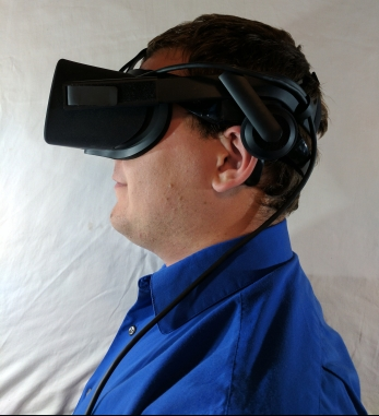 This an Oculus Rift, one of the top consumer level, desktop VR headsets.